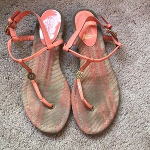 Coach Coral Patent Leather Sandals, Size 6